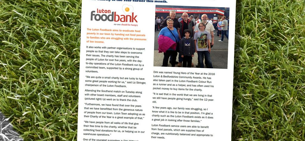 Getting With The Programme Luton Foodbank